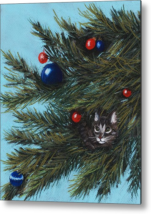 Cat Metal Print featuring the pastel Where Is Santa by Anastasiya Malakhova