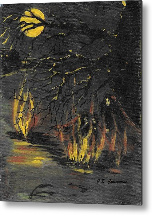 Gathering Metal Print featuring the painting Moon Gathering by C E Constantine