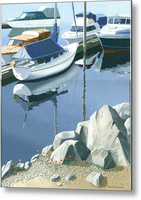 Sailboat Metal Print featuring the painting Wildflowers On The Breakwater by Gary Giacomelli