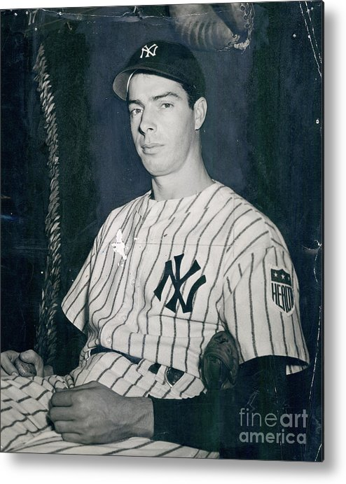 Three Quarter Length Metal Print featuring the photograph Joe Dimaggio by Sports Studio Photos