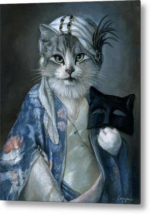Cat Metal Print featuring the painting Frannie by Melinda Copper