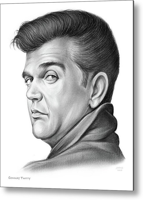 Conway Twitty Metal Print featuring the drawing Hello Darlin by Greg Joens