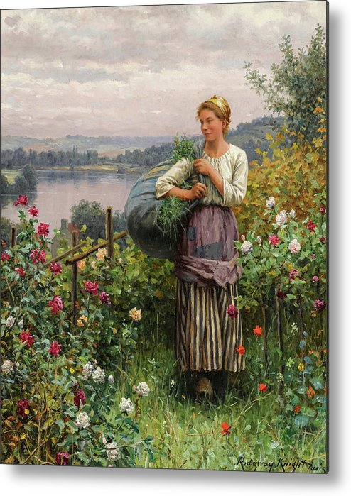 Daniel Ridgway Knight Metal Print featuring the painting The Rose Garden, 19th Century by Daniel Ridgway Knight