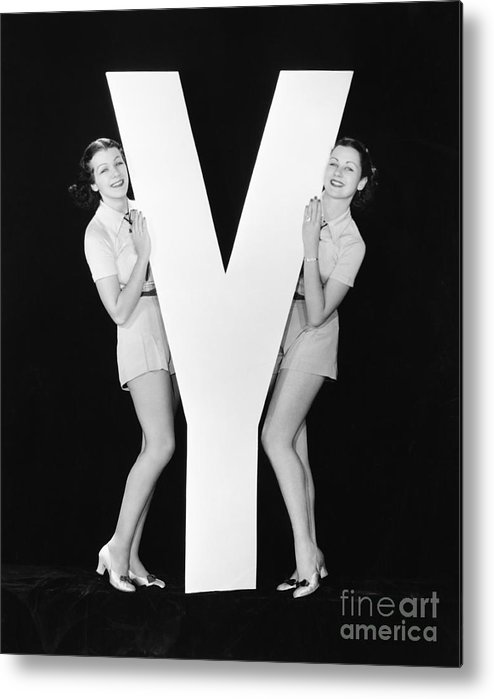 Play Metal Print featuring the photograph Women Posing With Huge Letter Y by Everett Collection