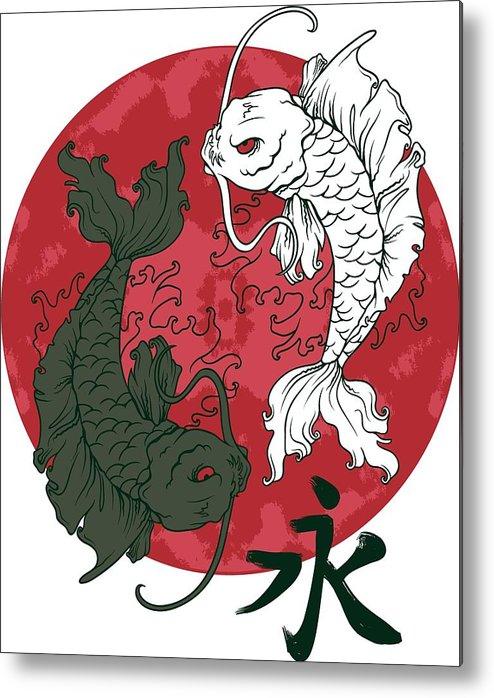 Japanese Metal Print featuring the digital art Yin Yang Koi Fish by Passion Loft
