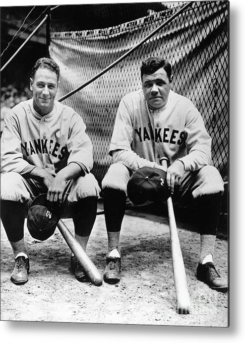 American League Baseball Metal Print featuring the photograph Lou Gehrig And Babe Ruth by National Baseball Hall Of Fame Library