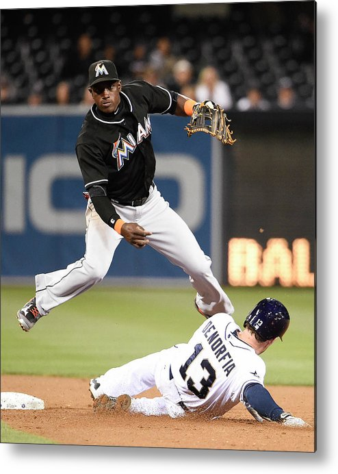 Double Play Metal Print featuring the photograph Adeiny Hechavarria And Chris Denorfia by Denis Poroy