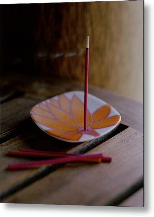 Smoke Metal Print featuring the photograph Incense Stick On Plate by Luxy Images