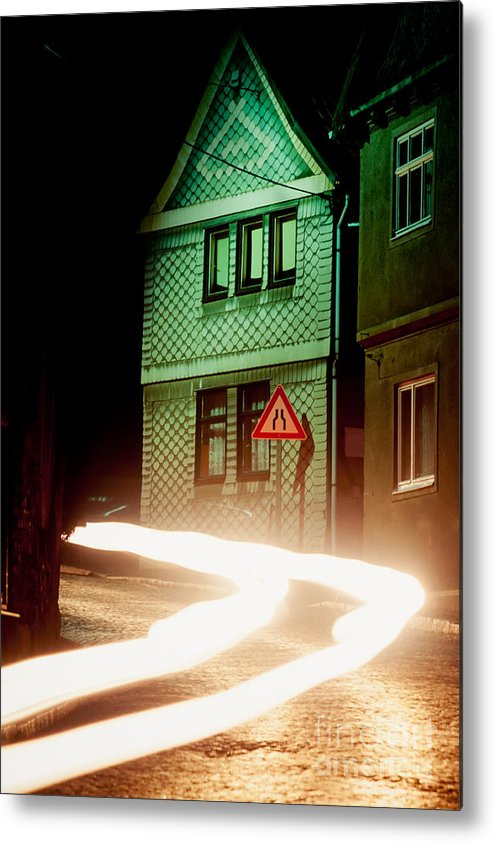 Asleep Metal Print featuring the photograph At Night In Thuringia Village Germay by Stephan Pietzko