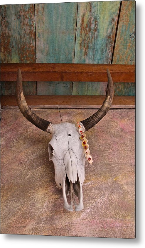 Metal Print featuring the digital art Degrazia Skull by Jen Brooks Art