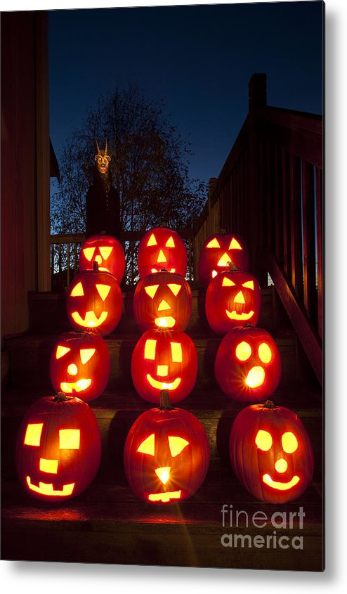 31st Metal Print featuring the photograph Lit Pumpkins With Demon On Halloween by Jim Corwin