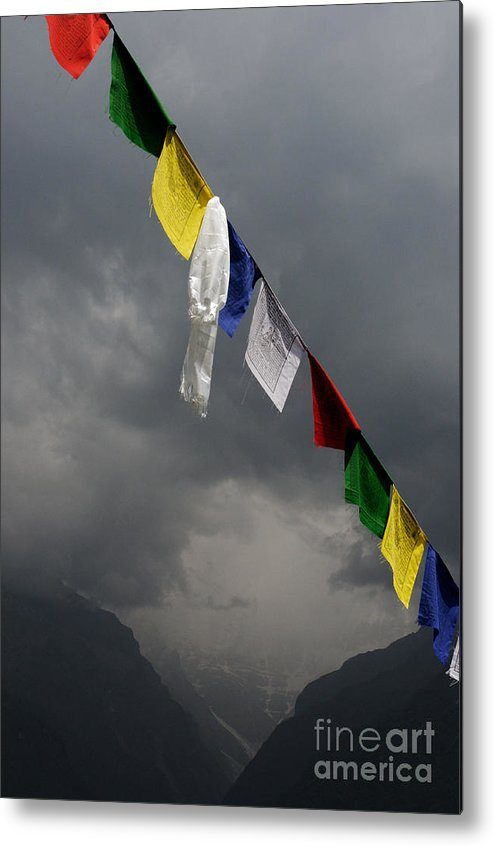Nepal Metal Print featuring the photograph Prayer Flags Stormy Day by Colin Woods