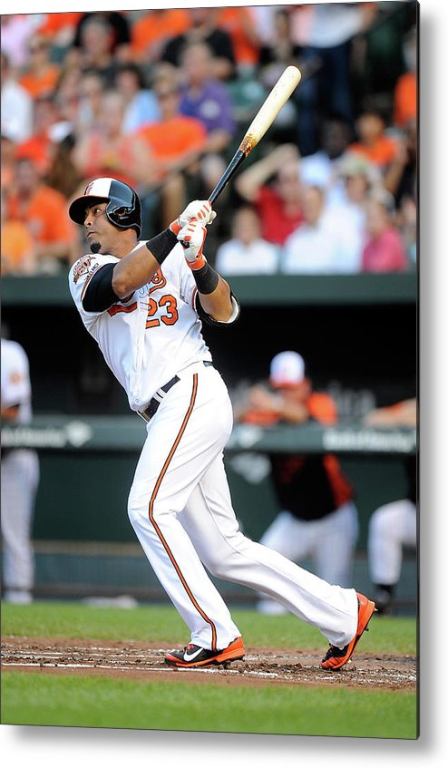 American League Baseball Metal Print featuring the photograph Texas Rangers V Baltimore Orioles 1 by Greg Fiume