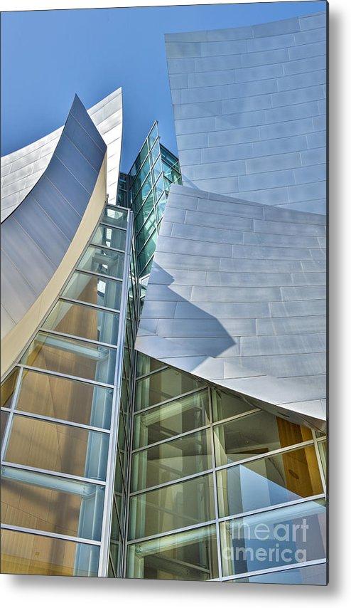 Walt Disney Metal Print featuring the photograph Walt Disney Concert Hall Vertical Los Angeles Ca by David Zanzinger