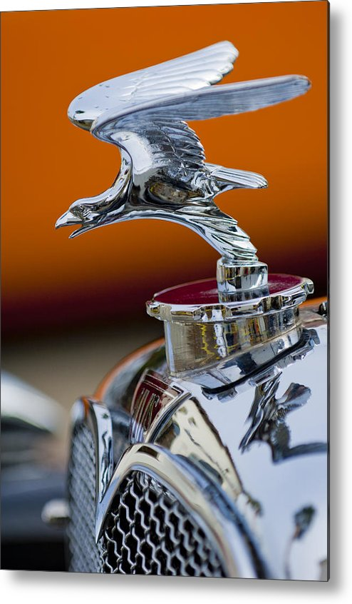 1932 Alvis Speed 20 Metal Print featuring the photograph 1932 Alvis Hood Ornament 2 by Jill Reger