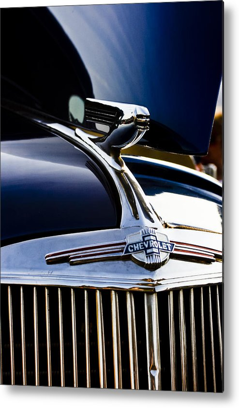 Transportation Metal Print featuring the photograph 1940 Chevy Coupe Hood Ornament by Dennis Coates