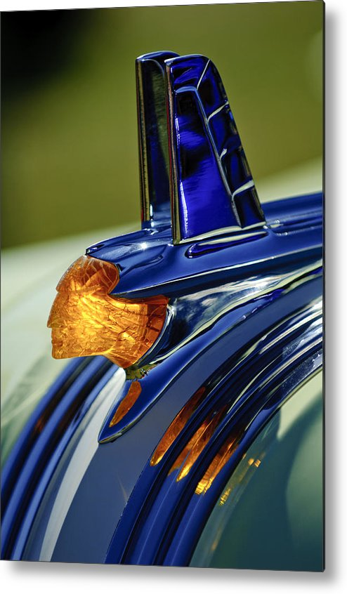 1953 Pontiac Metal Print featuring the photograph 1953 Pontiac Hood Ornament 3 by Jill Reger
