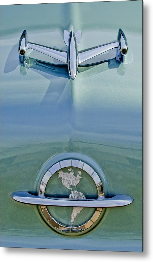 1954 Oldsmobile Super 88 Metal Print featuring the photograph 1954 Oldsmobile Super 88 Hood Ornament by Jill Reger