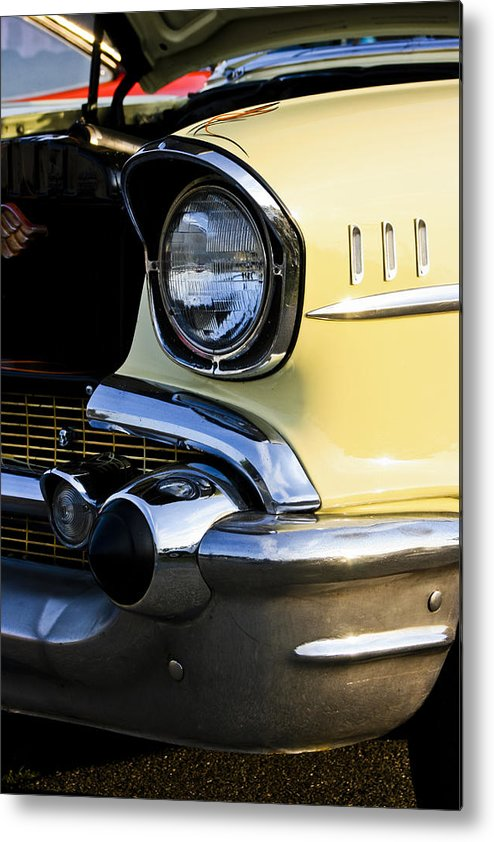 Transportation Metal Print featuring the photograph 1957 Chevy Bel Air Yellow Headlight by Dennis Coates