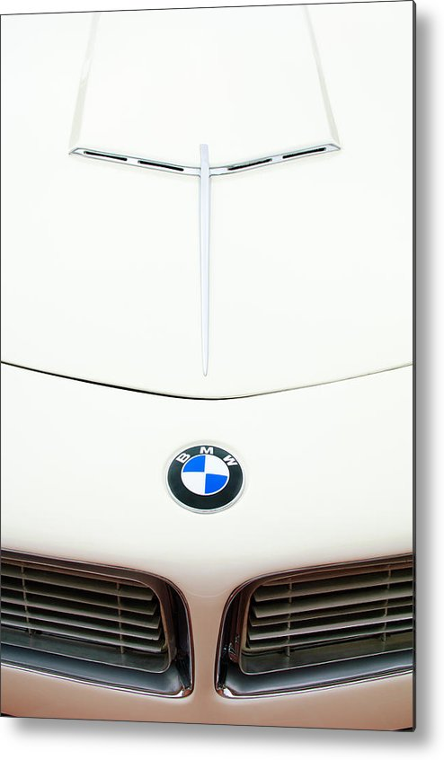 1958 Bmw 507 Roadster Metal Print featuring the photograph 1958 Bmw 507 Roadster Hood Emblem by Jill Reger