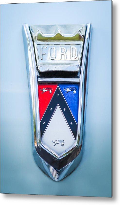 1963 Ford Falcon Futura Convertible Emblem Metal Print featuring the photograph 1963 Ford Falcon Futura Convertible Emblem by Jill Reger