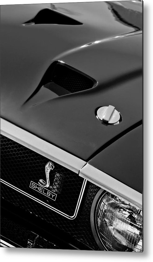 1969 Shelby Gt500 Convertible 428 Cobra Jet Hood - Grille Emblem Metal Print