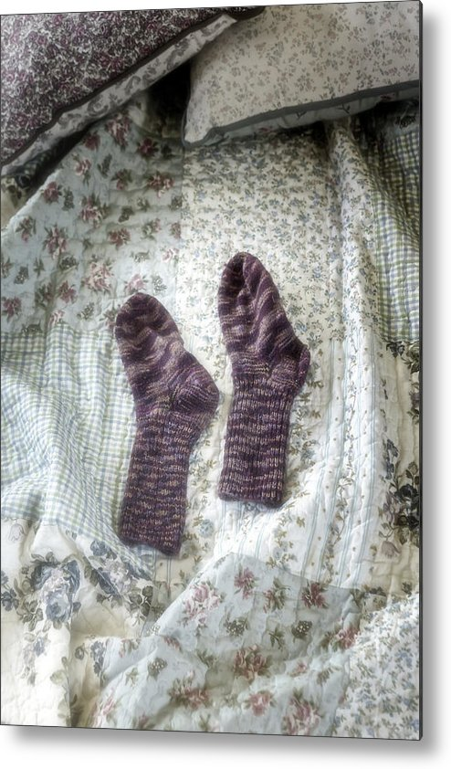 Hand-knitted Metal Print featuring the photograph Woollen Socks by Joana Kruse