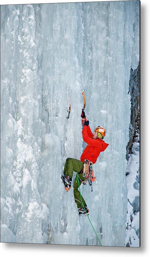 Mclean Worsham Metal Print featuring the photograph Ice Climbing by Elijah Weber
