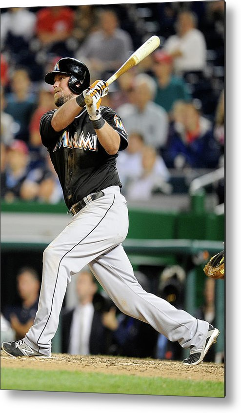 American League Baseball Metal Print featuring the photograph Miami Marlins V Washington Nationals 3 by Greg Fiume
