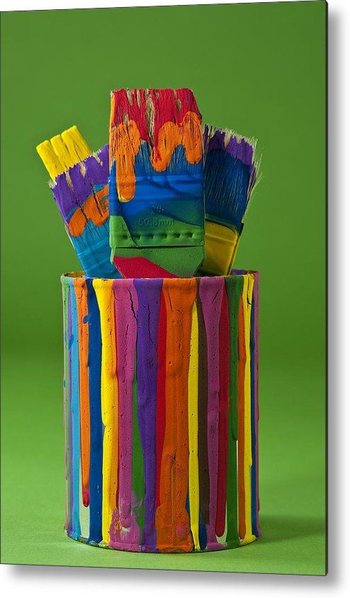 Abstract Metal Print featuring the photograph Multicolored Paint Can With Brushes by Jim Corwin