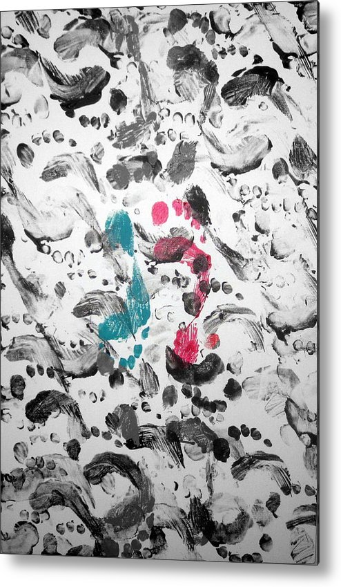 Barefoot Metal Print featuring the painting Bare Feet Abstract Painting Original By Zee Clark by Zee Clark