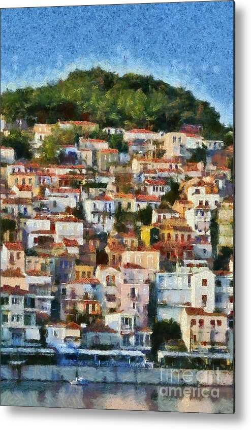 Lesvos; Lesbos; Plomari; City; Town; Port; Harbor; Afternoon Light; House; Houses; Color; Colorful; Colour; Colourful; Islands; Sea; Greece; Greek; Island; Hellas; Aegean; Summer; Holidays; Vacation; Tourism; Touristic; Travel; Trip; Voyage; Journey; Pattern; Arrangement; Motif; Paint; Painting; Paintings Metal Print featuring the painting Plomari Town by George Atsametakis