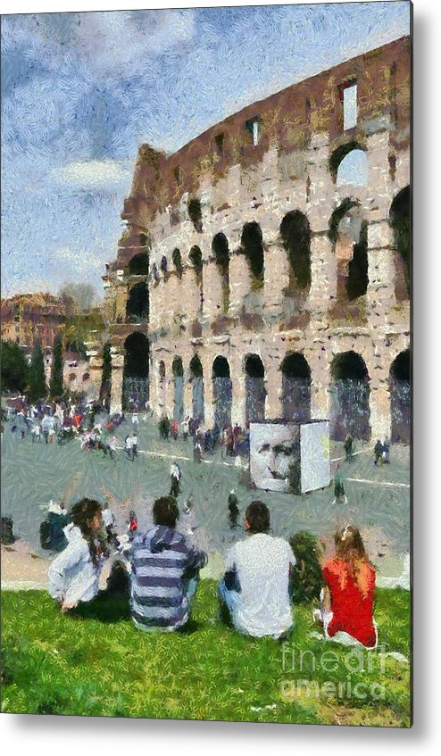 Colosseum Metal Print featuring the painting Outside Colosseum In Rome by George Atsametakis
