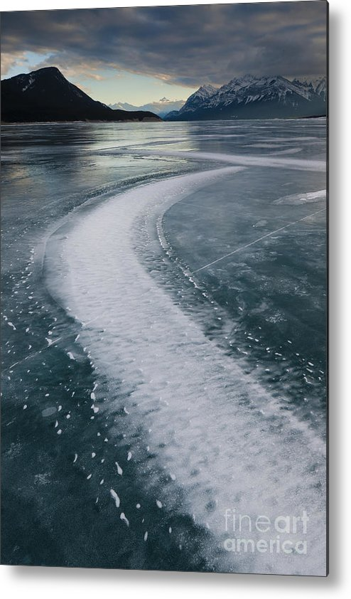 Alberta Metal Print featuring the photograph Ice Pattern On Frozen Abraham Lake by John Shaw