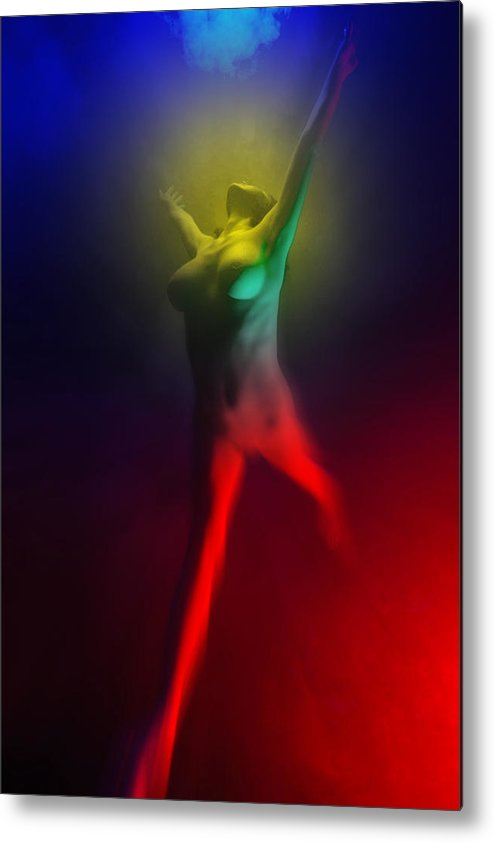 Dramatic Metal Print featuring the photograph 7586 Color Abstract Nude by Chris Maher