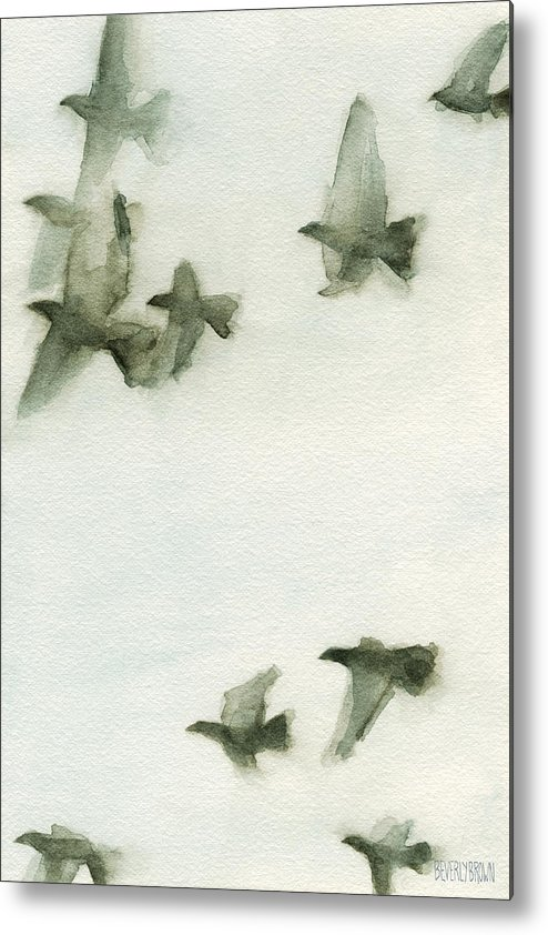 Bird Metal Print featuring the painting A Flock Of Pigeons 2 Watercolor Painting Of Birds by Beverly Brown Prints