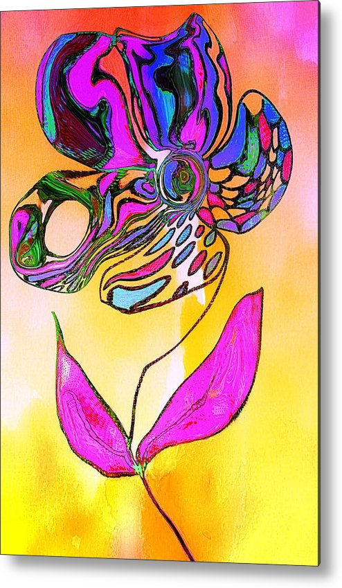 Flower Metal Print featuring the painting Abstract Flower 2 by Anne Costello