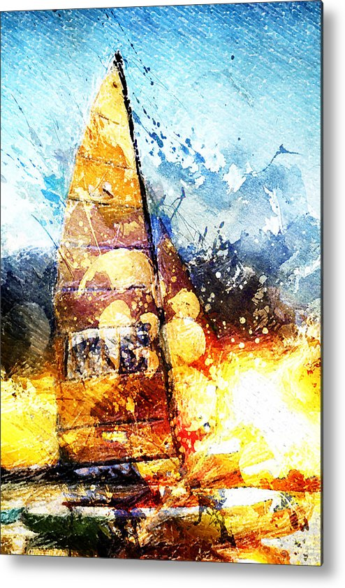 Sail Metal Print featuring the digital art Abstract Sailing by Andrea Barbieri