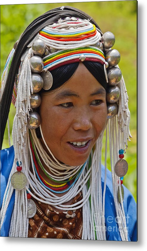 Vertical Metal Print featuring the photograph Akha Tribal Woman - Kengtung Burma by Craig Lovell