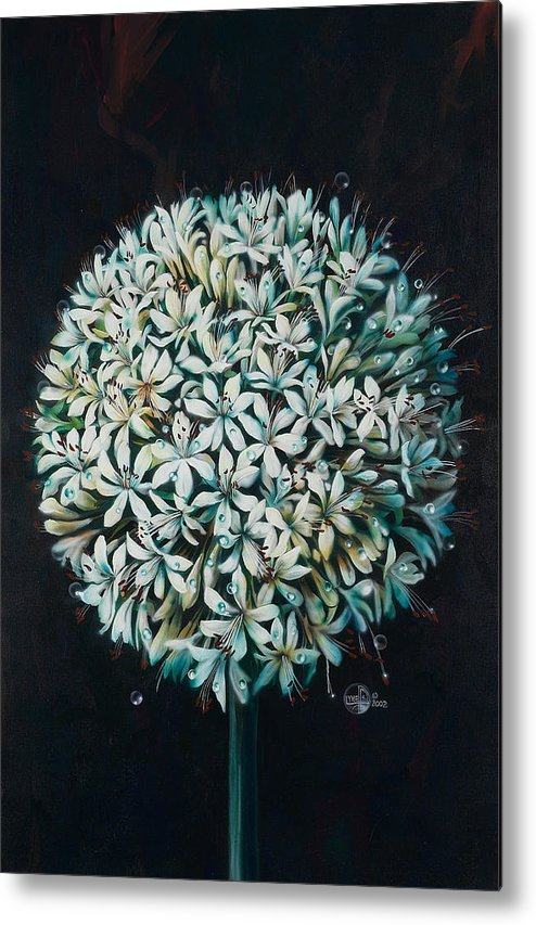 Flower Metal Print featuring the painting Allium by Lynette Yencho