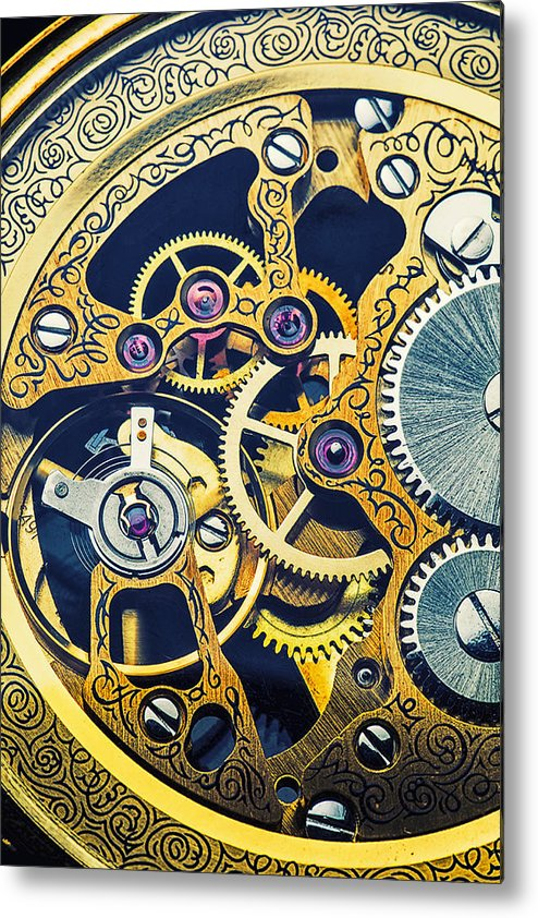 Time Metal Print featuring the photograph Antique Pocket Watch Gears by Garry Gay