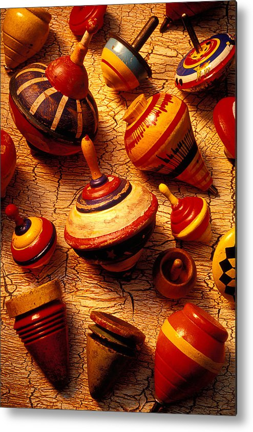 Collection Metal Print featuring the photograph Assorted Toy Tops by Garry Gay