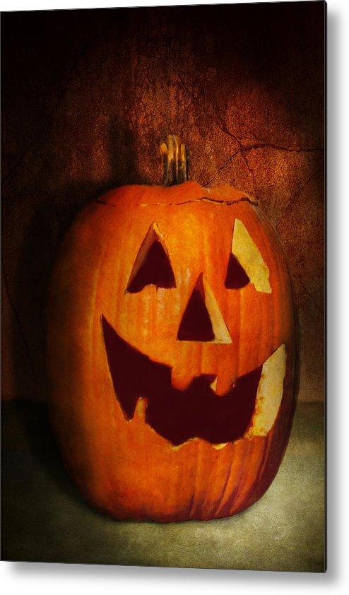 Autumn Metal Print featuring the photograph Autumn - Halloween - Jack-o-lantern by Mike Savad