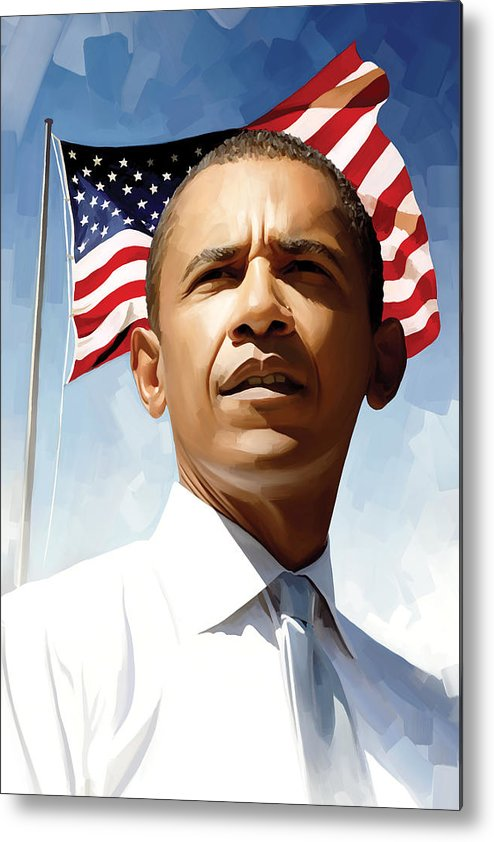 Barack Obama Paintings Metal Print featuring the painting Barack Obama Artwork 1 by Sheraz A