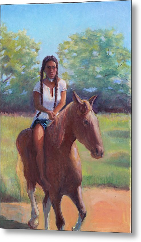 Native American Metal Print featuring the painting Bareback Riding by Gwen Carroll