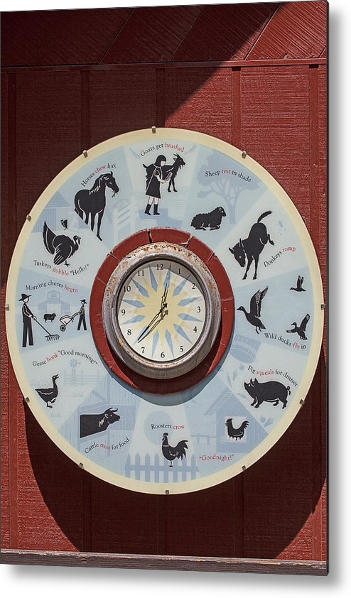 Barn Metal Print featuring the photograph Barn Yard Clock by Garry Gay