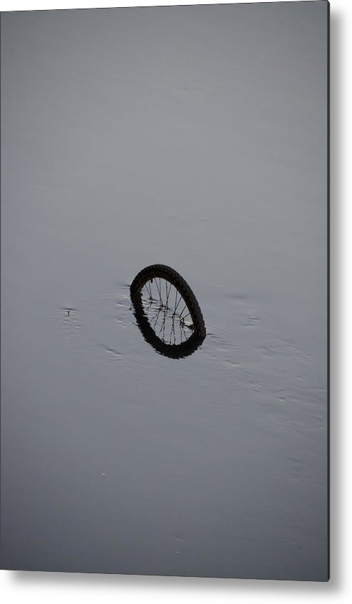 Bicycle Metal Print featuring the photograph Bicycle In The River Liffey - Dublin Ireland by Bill Cannon