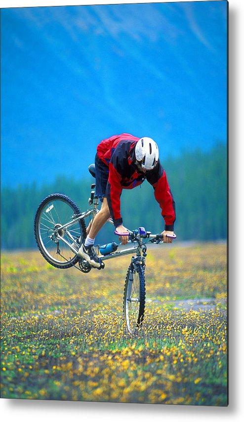 Crash Metal Print featuring the photograph Bike Stunt by Corey Hochachka
