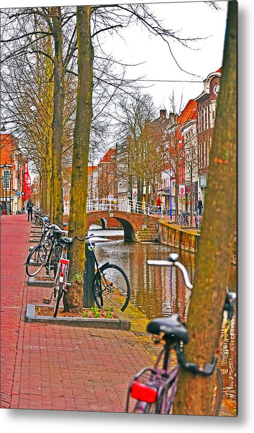Travel Metal Print featuring the photograph Bikes And Canals by Elvis Vaughn