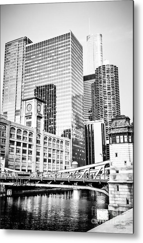 America Metal Print featuring the photograph Black And White Picture Of Chicago At Lasalle Bridge by Paul Velgos
